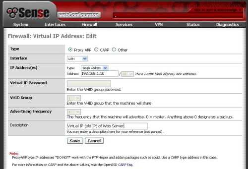 pfSense NAT Virtual IP